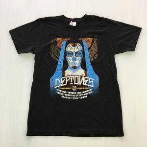 Deftones Band Tee Graphic  Black T Shirt Size L